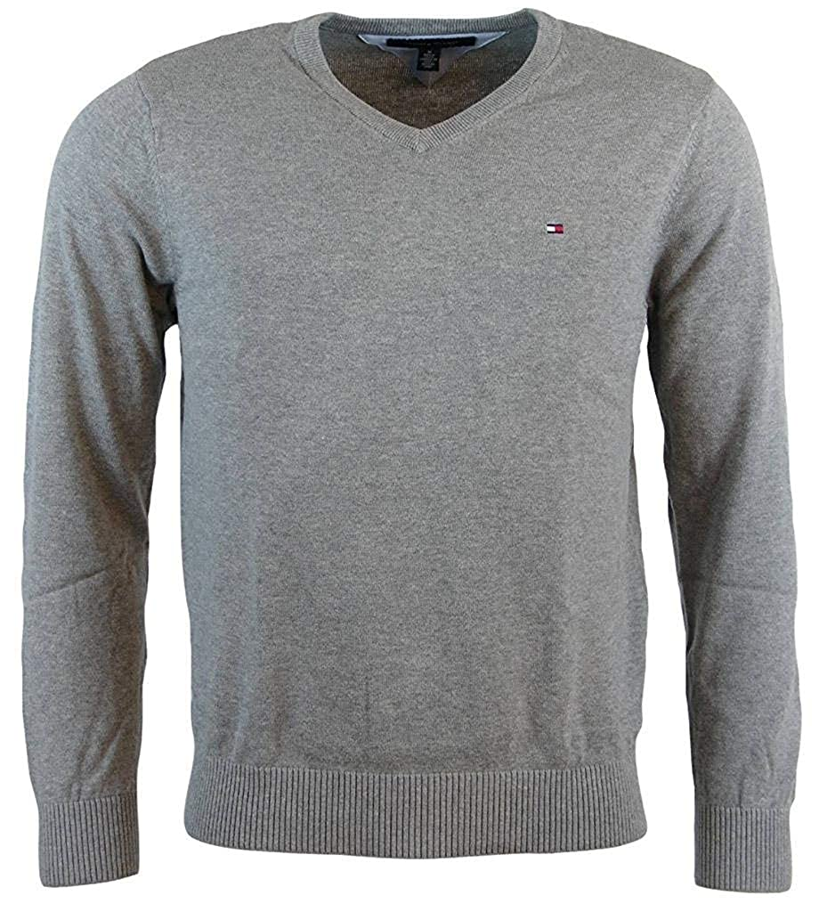 eb1a1e321 Tommy Hilfigher Mens Cotton Cashmere Signature Solid V-Neck Sweater, Medium  Grey at Amazon Men's Clothing store: