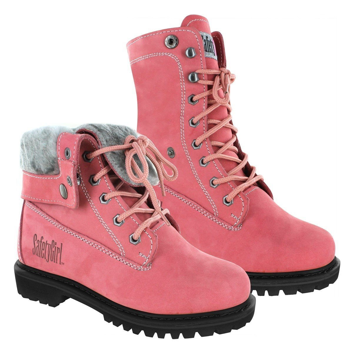Safety Girl GS008-Pink-ST-9.5M Madison Fold-Down Work Boot - Pink Steel Toe 9.5M, English, Capacity, Volume, Leather, 9.5M, Pink ()