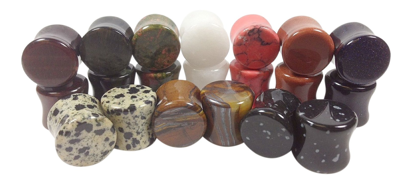 Lobal Domination -All 10 Pair- Stone Plugs Organic Double Flare Ear Gauges Body Jewelry (lot 2) (00g (10mm))