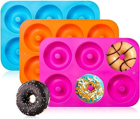 MANO Nonstick Silicone Donut Baking Pans Set of 2,Cake Molds Round Doughnut Trays Bread Loaf Pan Cookie Baking Sheet Muffin Pan Bakeware set,purple