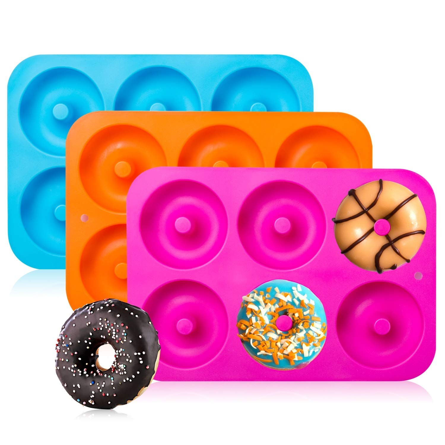 3 Colors BAKHUK 3Pack 4 Donut Baking Pan Full Size Non Stick Silicone Molds Donut Trays Donut Pans