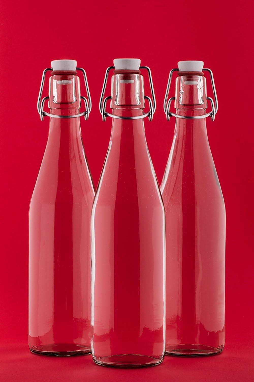 slkfactory 6vacías Botellas de Vidrio con Cierre hermético 500ml Zumo de Vidrio 0,5Litro l 50cl Swing Top Botella Bar Botella de Licor Botella Botella de vinagre Botella de Aceite