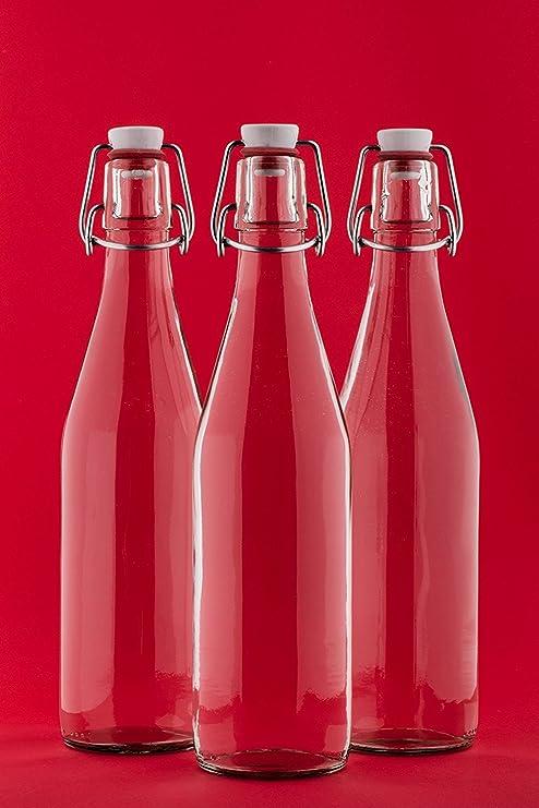 slkfactory 6 vacías Botellas de Vidrio con Cierre hermético 500 ML Zumo de Vidrio 0,