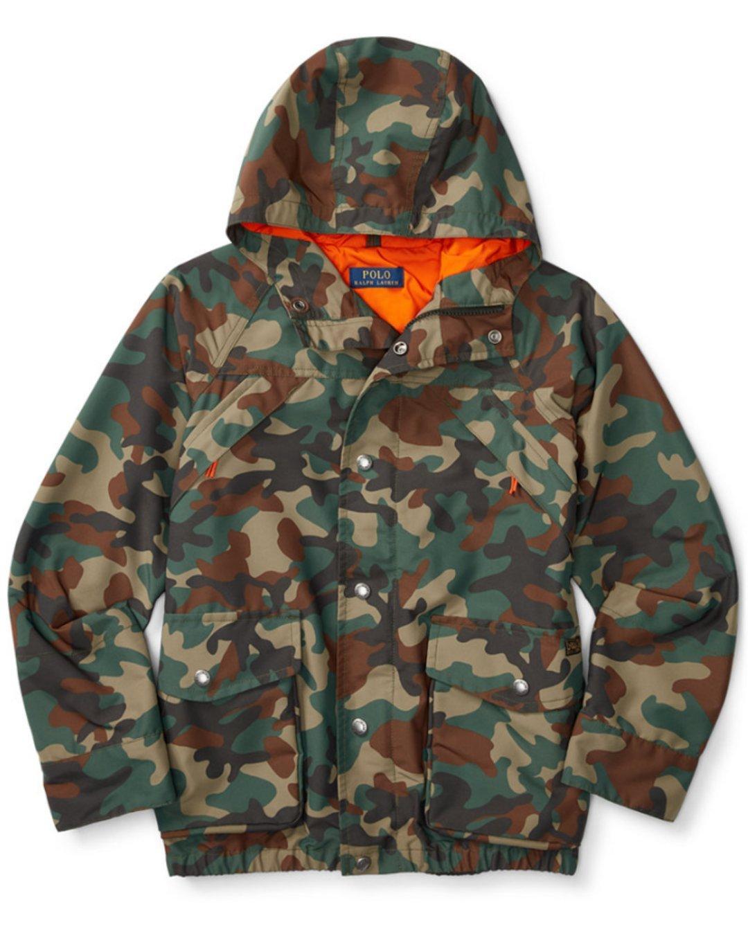 48cf7e308e039 Amazon.com: Ralph Lauren Polo Boys Camouflage Camo Faille Windbreaker  Hooded Jacket (Medium 10-12): Baby