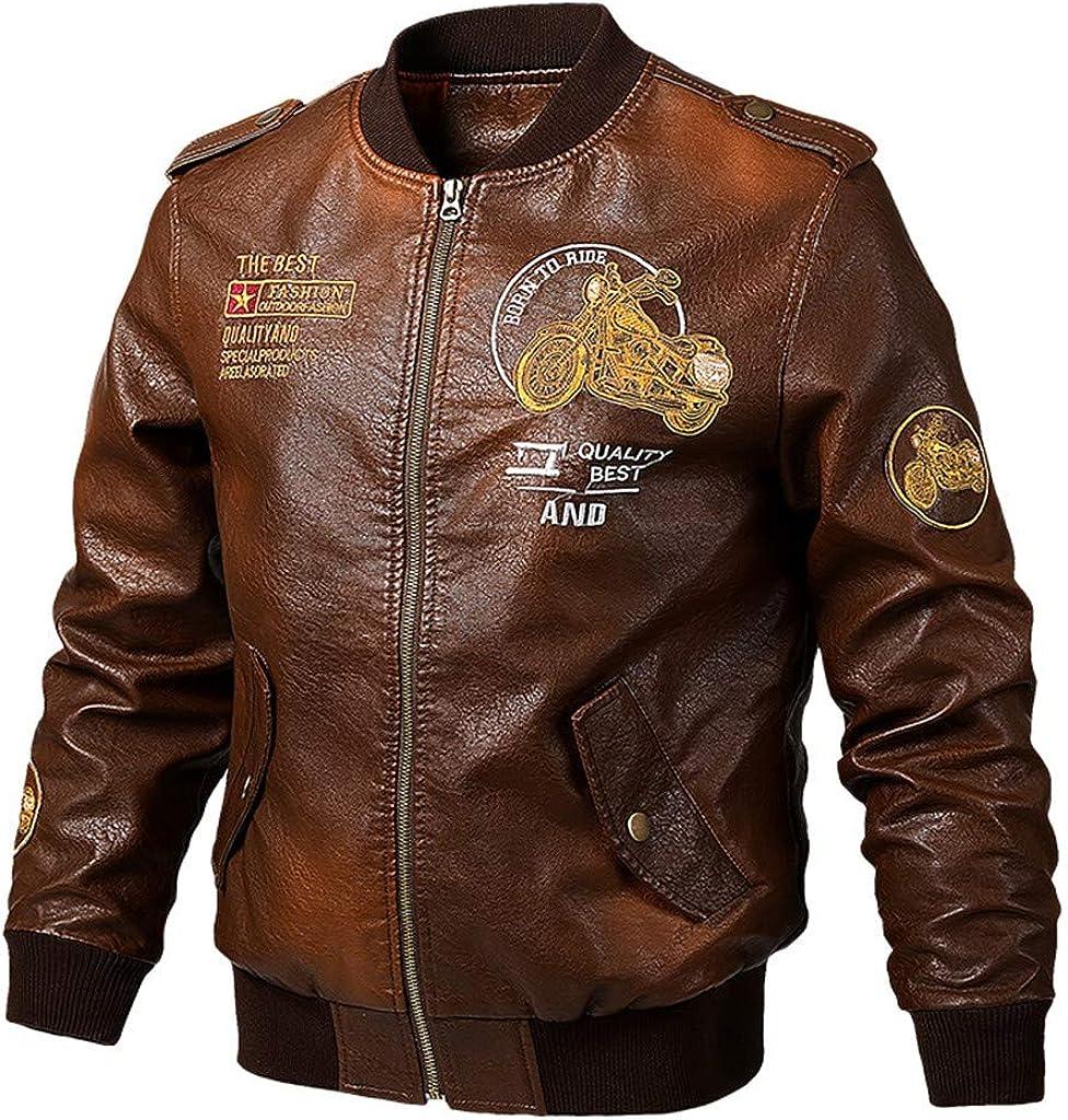 LOOKAA Men Brown Leather Motorcycle Jacket Casual Leather Jacket Casual Large Pure Leather Coat