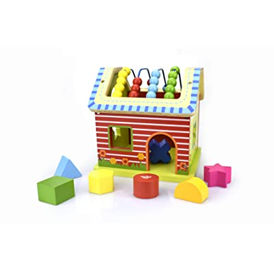 Tooky Toy Early Learning Educational Toys for Kids (3D Wooden House) Boys and Girls Learn Shapes, Colors, Simple Math, Social Play | Incl. 7 Geometric Colored Blocks: Toys & Games