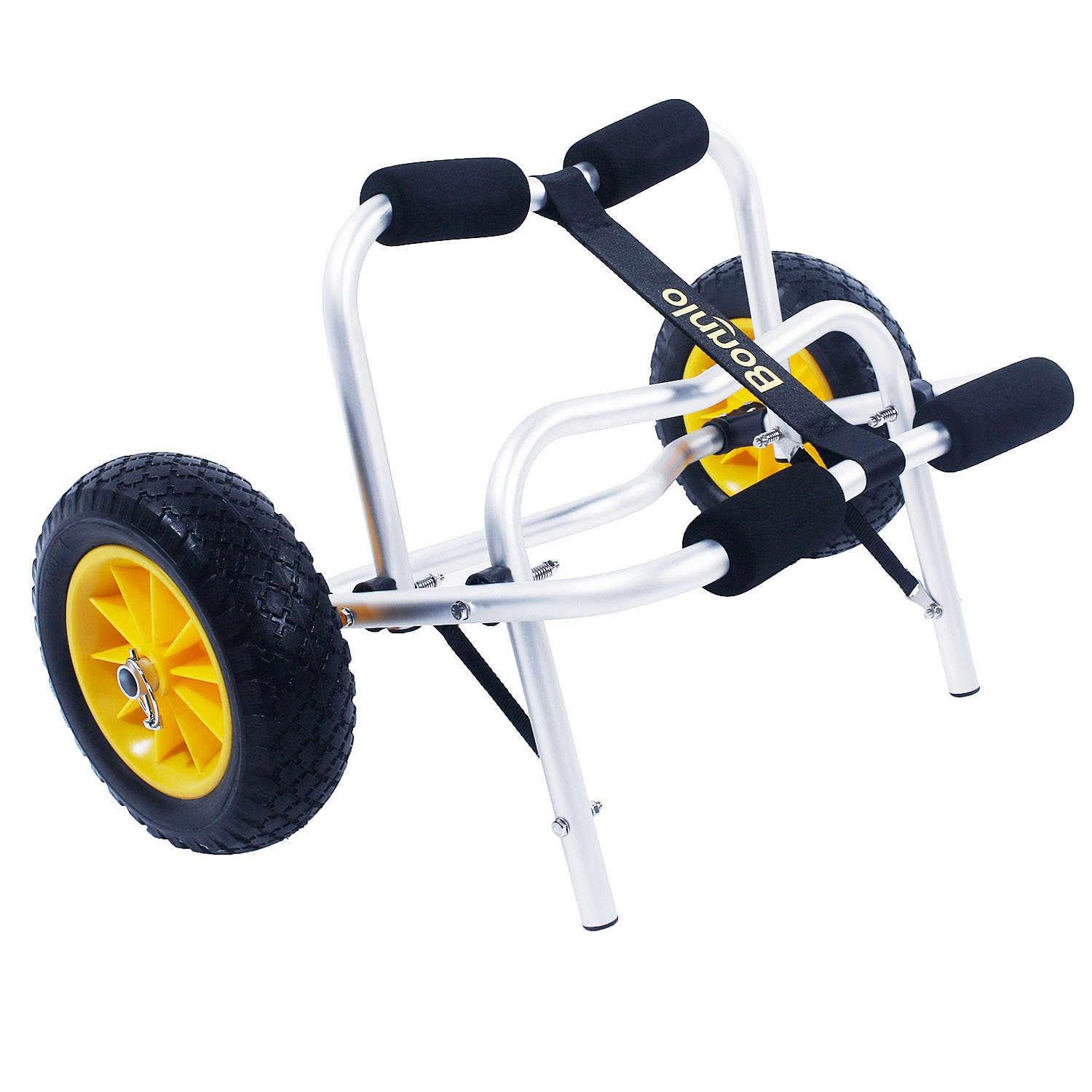 Bonnlo Boat Kayak Canoe Cart Carrier Dolly Trailer Tote Trolley Transport with Inflation-free Solid Tires Wheel