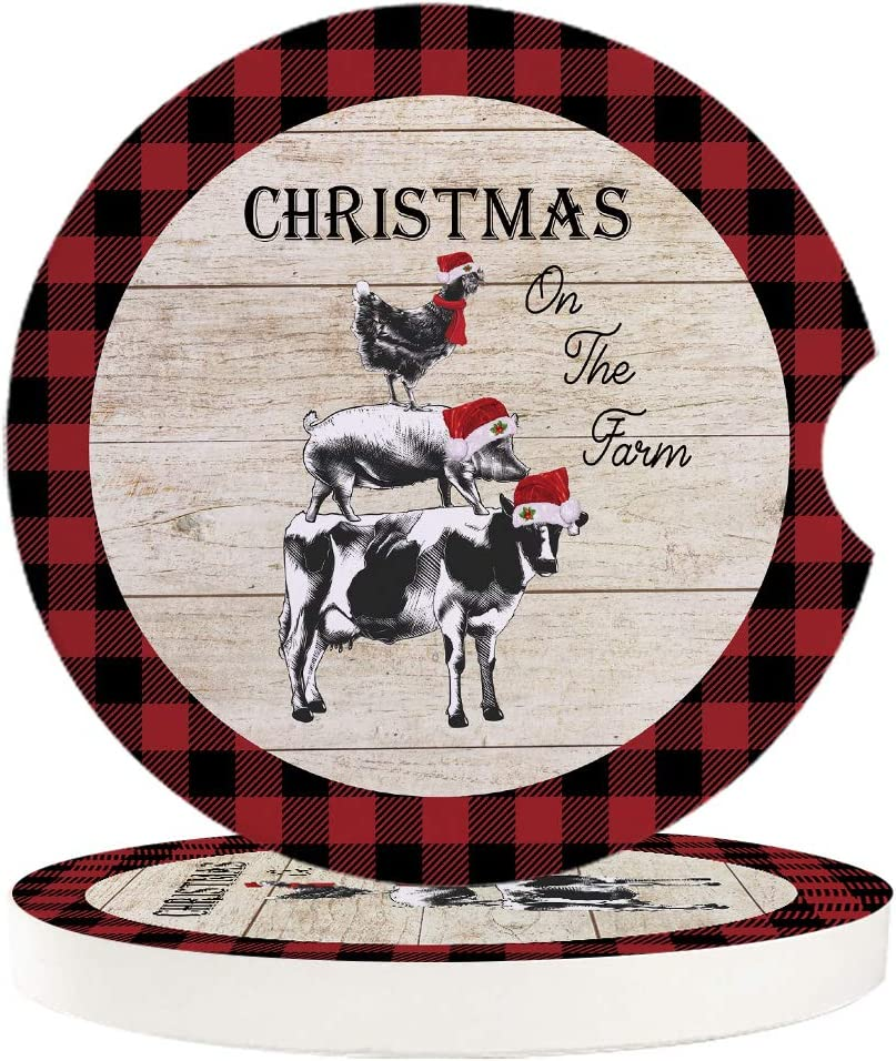 Amazon Com Absorbent Stone Car Coasters Chrismas On The Farm Animals With Christmas Hat Vintage Wood Grain Red Buffalo Plaid Absorbent Ceramic Stone With A Finger Notch For Easy Removal Of Auto