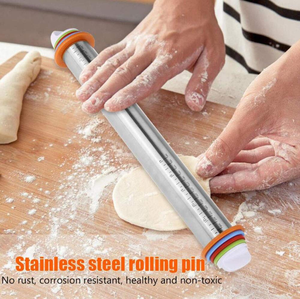 Adjustable Rolling Pins for Baking with Thickness Rings and FREE Pastry Mat Dough Roller for Bakery Dough Pizza Pie Chapati Fondant Crust Pasta, 17 inch STAINLESS STEEL ROLLER PIN BAKING by RkhanCorp (Image #5)