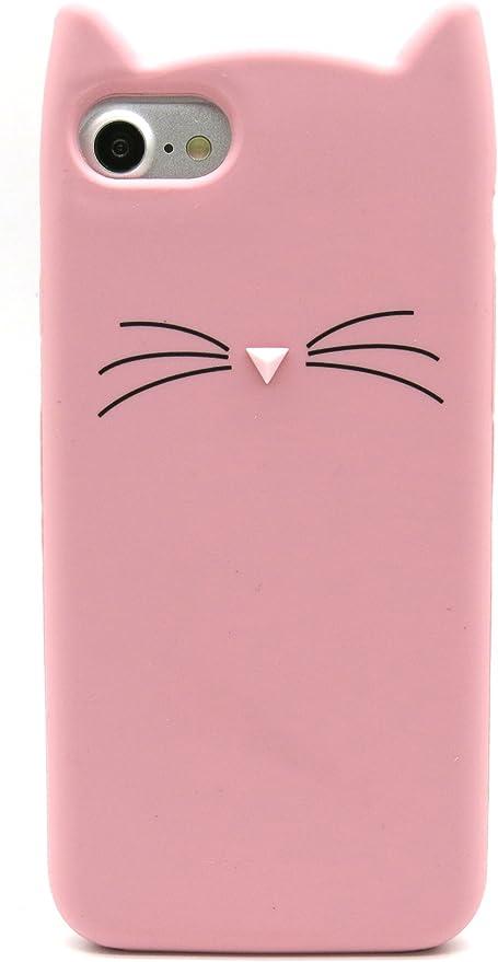 Cover Gatto per Iphone 7 in Gomma, Cover Gatto per Iphone 8 Rosa, Forma di Gatto Custodia in Morbido Silicone per Iphone 7 e Iphone 8 Carina Antiurto ...