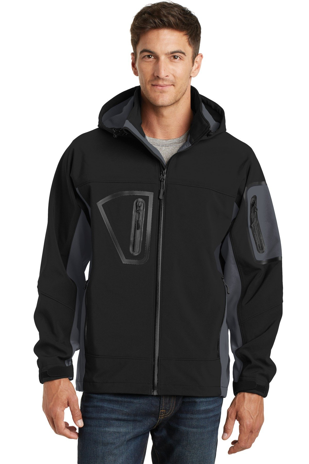 Port Authority Men's Waterproof Soft Shell Jacket XL Black/Graphite