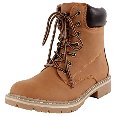 Forever Link Women's Lace-Up Padded Collar Combat Work Hiking Boot