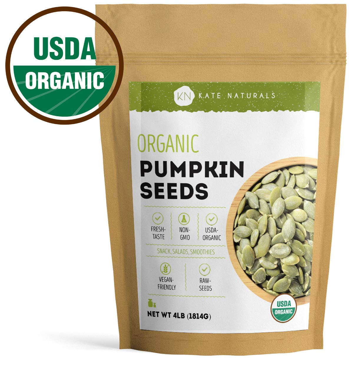 Organic Pumpkin Seeds Raw by Kate Naturals. Perfect for Snack, Salads & Smoothies. Unsalted. Premium Pepitas. USDA Organic and NON-GMO. Large Resealable Bag. 1-Year Guarantee. ((64 oz)) by Kate Naturals