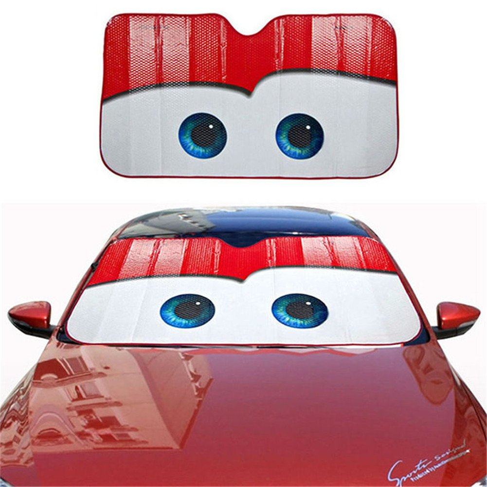 Gray TwinkBling Front Windshield Sunshade Visor Foldable Cartoon Car Windscreen Frost Snow Cover