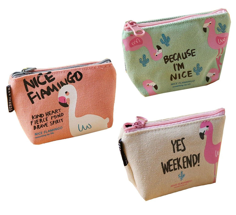 3pcs Cartoon Flamingo Stripe Canvas Zipper Coin Purse Change Purse Handbag