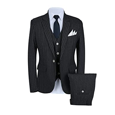 36b626ff6e41 Mens Pinstripe Suit 3 Piece Slim Fit Casual Dress Suits Blazer+Vest+Pants US