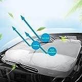 Wsiiroon サンシェード 車用 遮光 フロントガラス用 日よけ カーサンシェード 紫外線対策 遮熱 UVカット 日焼け防止 折り畳みワイヤタイプ 収納バッグ付き 汎用(150 * 80cm)