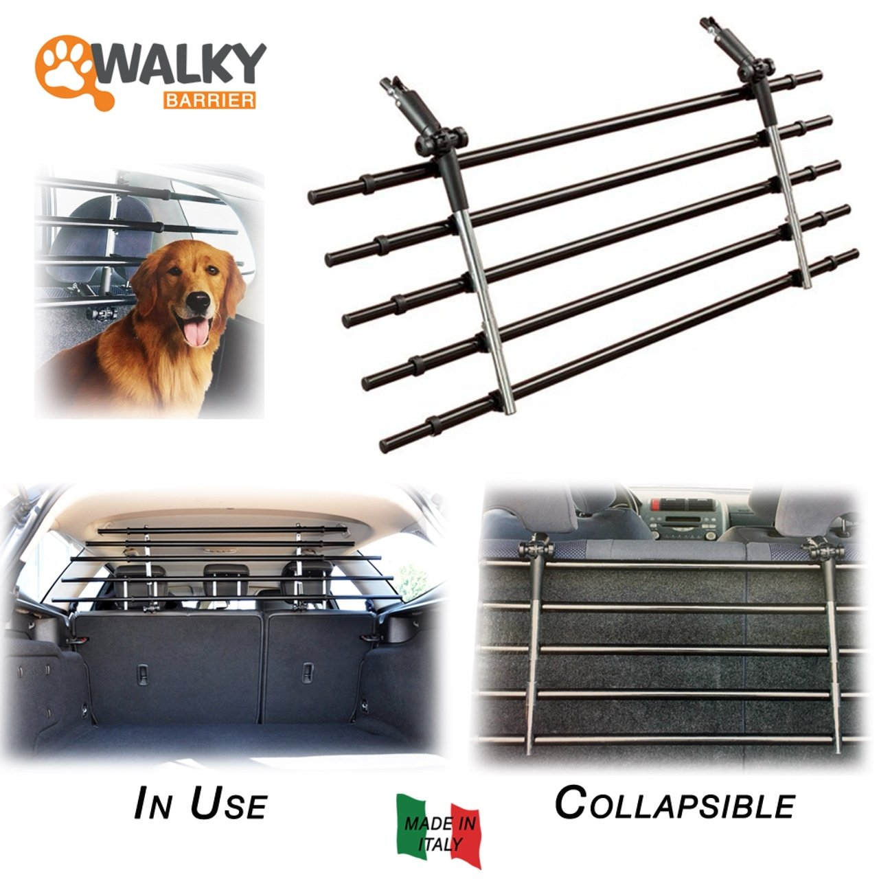 Walky Barrier, K9 Auto Guard Barrier, Foldable Auto Pet Barrier, Adjustable Car Barrier for Pet Automotive Safety