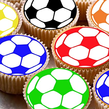 PRE CUT 12 EDIBLE RICE PAPER WAFER CARD SPORTS BALLS CAKE CUPCAKE PARTY TOPPERS