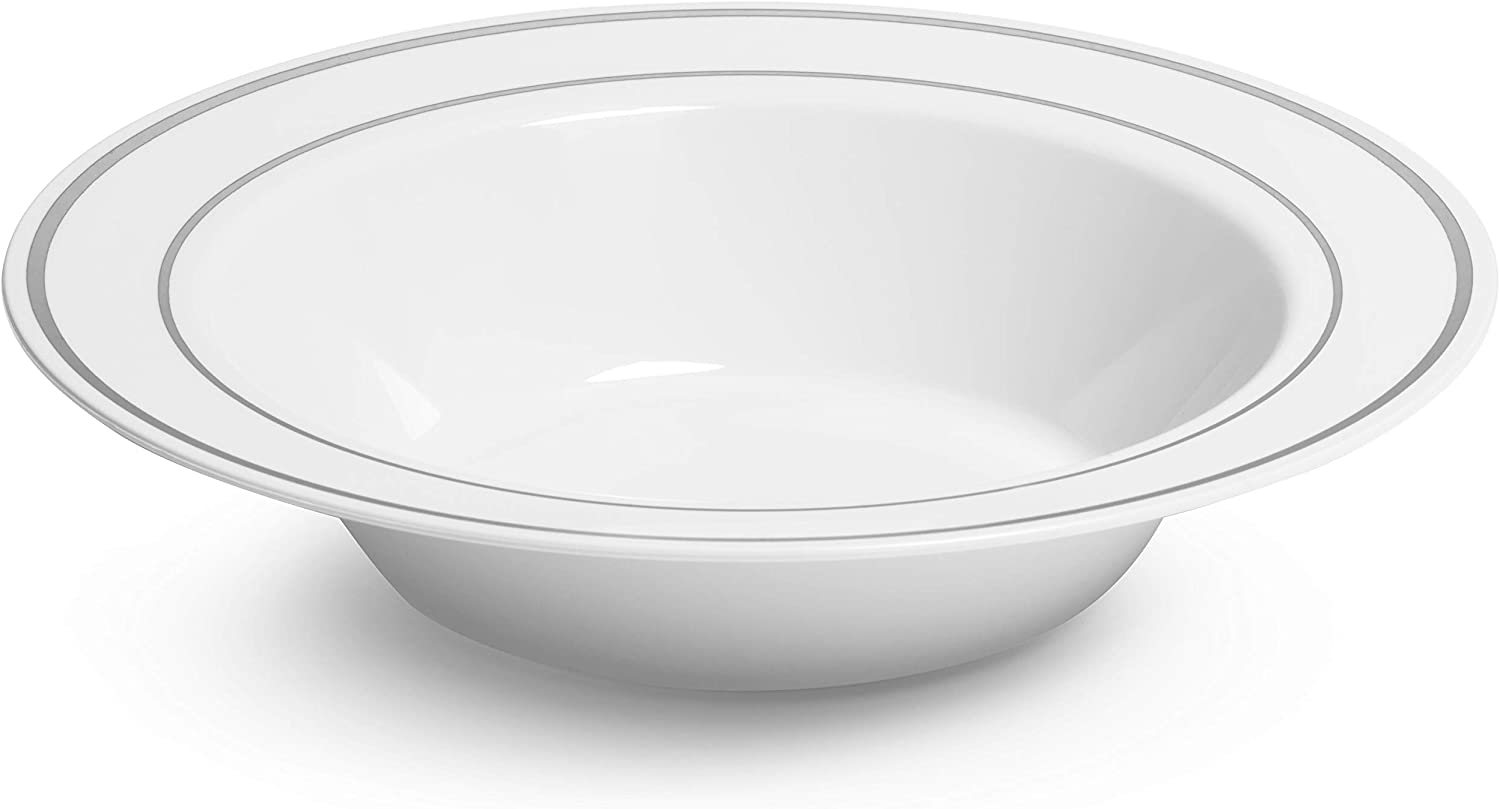 Silver Rimmed White Bowls 12 Ounce 50 Count Hard Plastic Disposable Or Reusable Dessert Bowls Salad Bowls Cereal Bowls Pasta Bowls Ideal For All Events Kitchen Dining