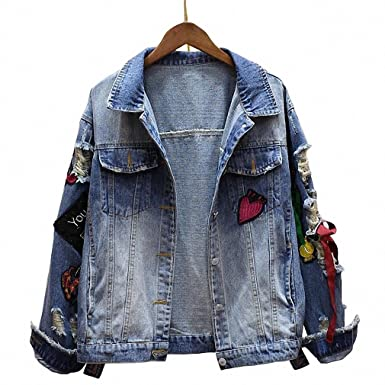 Colorful Embroidery Ladies Jean Jackets Patch Designs Womens Denim Coats ribbons oversized Chaquetas Mujer casual Jacket