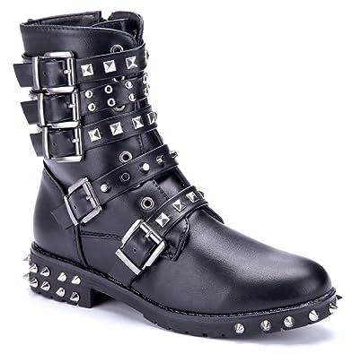cc5ba8e4fcd81e Schuhtempel24 Damen Schuhe Boots Stiefel Stiefeletten Blockabsatz Schnalle  Nieten 3 cm  Amazon.de  Schuhe   Handtaschen
