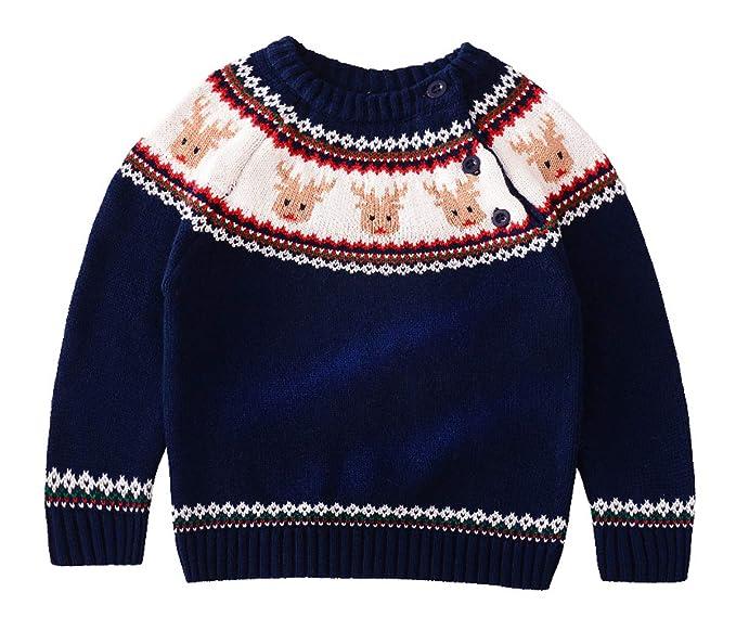 bd029e54404 La vogue Jersey para Niños Niñas Manga Larga Suéter de Punto Cuello Redondo  para Invierno Navidad Azul Oscuro Busto 76cm: Amazon.es: Ropa y accesorios