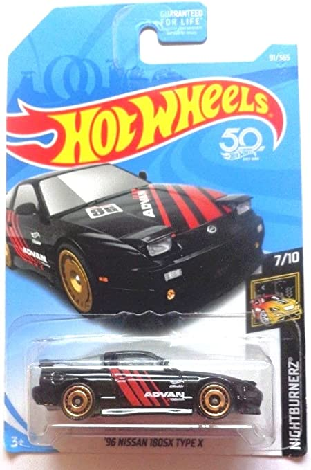 Hot Wheels 2018 Nightburnerz Series #91 /'96 Nissan 180SX Type X Black ADVAN