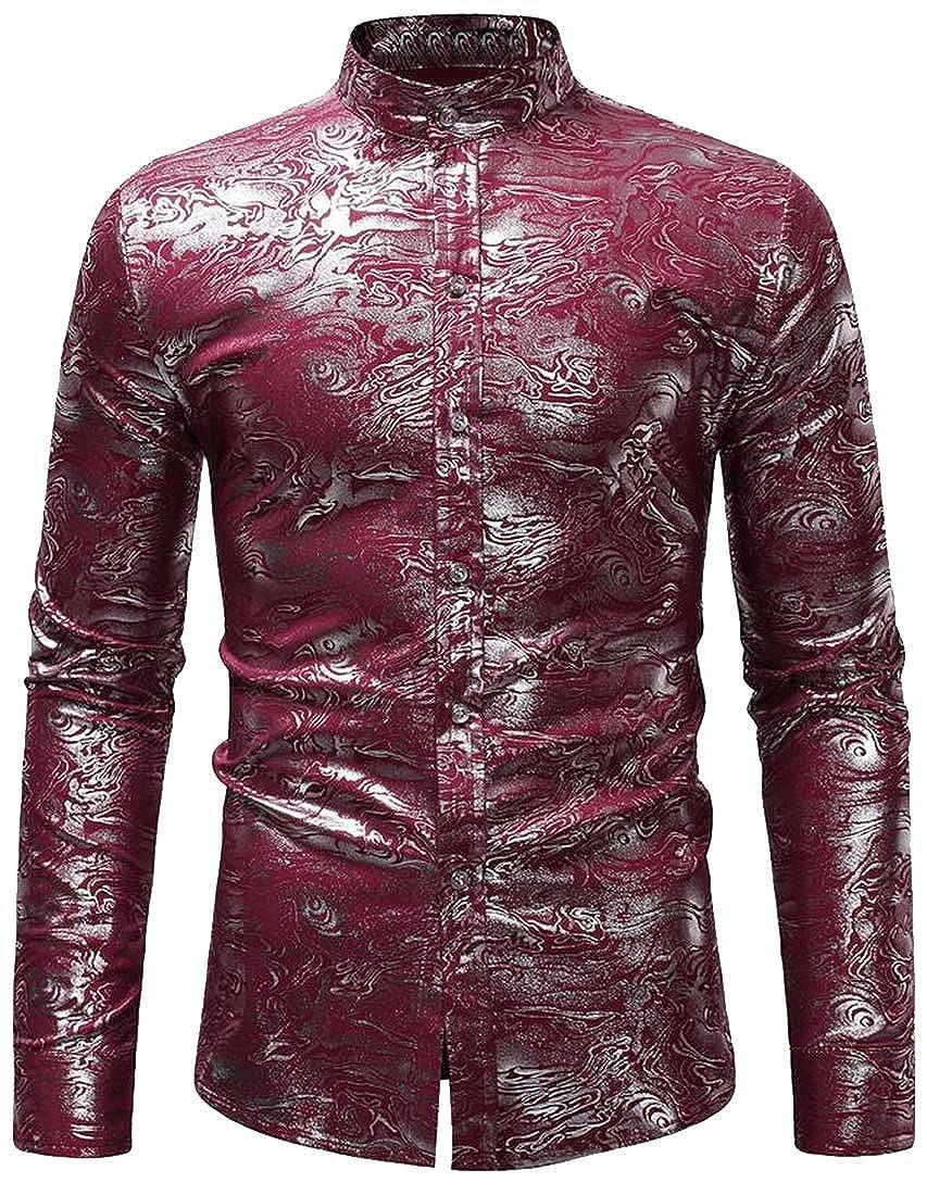 Jofemuho Mens Mandarin Collar Club Long Sleeve Slim Floral Print Button Down Dress Work Shirt