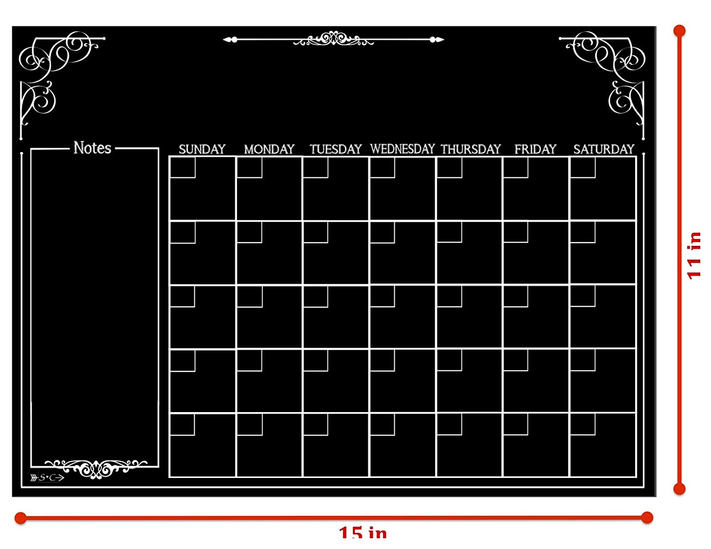 Monthly Organizer Dry Erase Board Waterproof Magnetic Chalkboard Style Refrigerator Calendar 11 x 15 inches Kitchen Organizer Large Calendar Smooth Black Surface Calendar