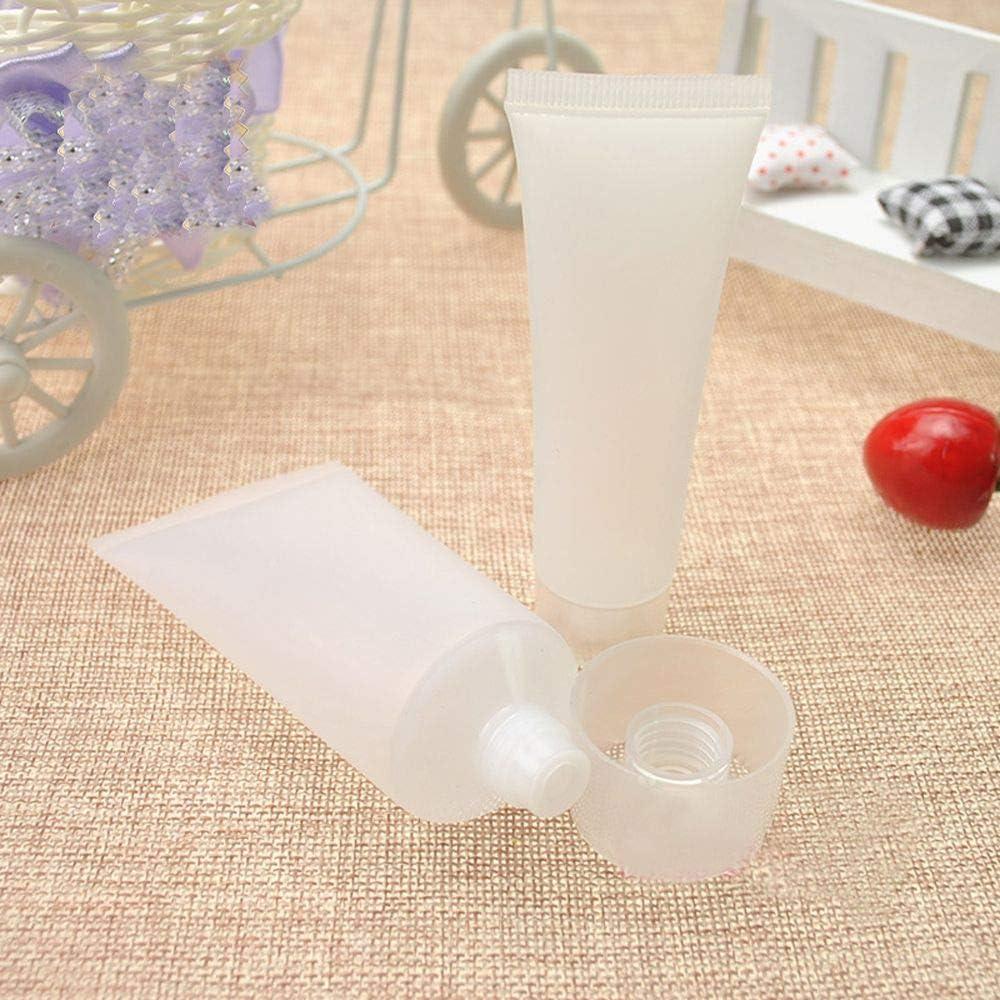 Barley33 50ml 10PCS Tubos rellenables vacíos Transparentes Tubo Suave cosmético Viaje Maquillaje Contenedor Botella dispensadora de compresión