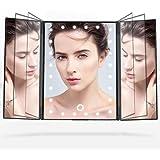 Telustyle 化粧鏡 卓上ミラー三面鏡 LED付き折りたたみ式 明るさ調整可能 収納簡単