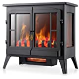 Xbeauty Electric Fireplace Stove, Freestanding Fireplace Heater with Realistic Flame, Indoor Electric Stove Heater, Portable,