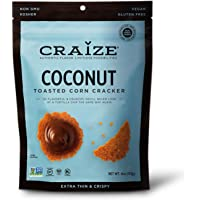 Craize Thin & Crunchy Toasted Corn Crackers – Coconut Flavored Healthy & Organic Gluten Free Crackers - 3 Pack, 4 Ounces Each