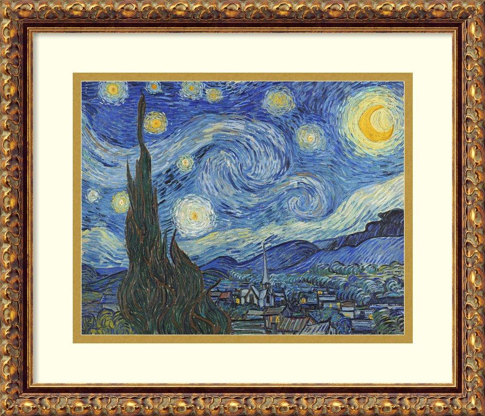 アートフレーム印刷' The Starry Night , June 1889 ( II ) ' by Vincent Van Gogh Size: 18 x 15 (Approx), Matted ブルー 3848452 Size: 18 x 15 (Approx), Matted Antique Bronze,mat:white B01LAGY8VO