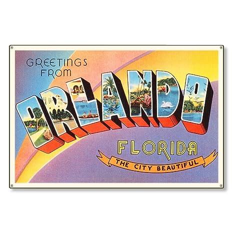 Amazon.com: Orlando Florida Fl - Cartel de metal, diseño ...