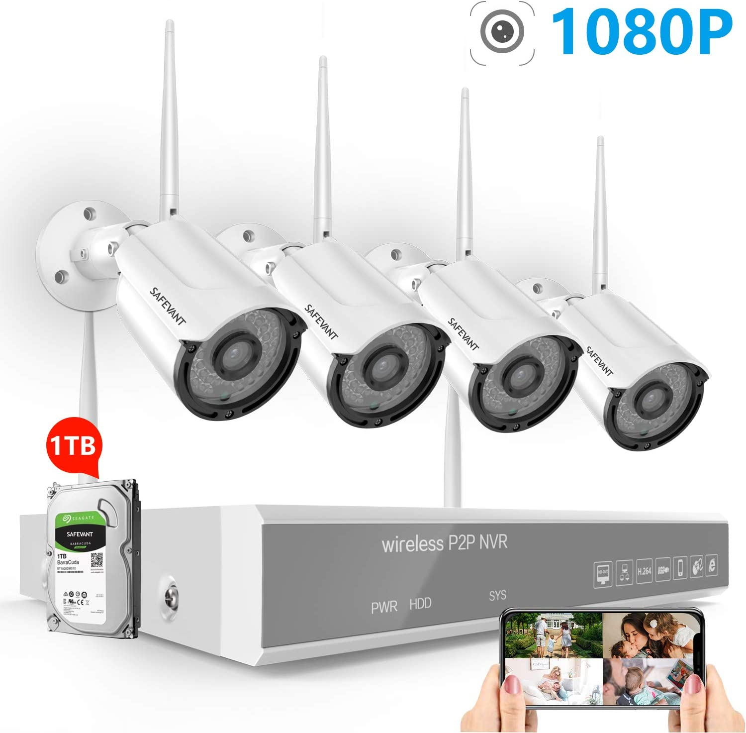 Full HD 1080P Security Camera System Wireless with 1TB Hard Drive,SAFEVANT 8CH NVR Kits with 4PCS 2.0 MP Indoor Outdoor IP Cameras with Night Vision