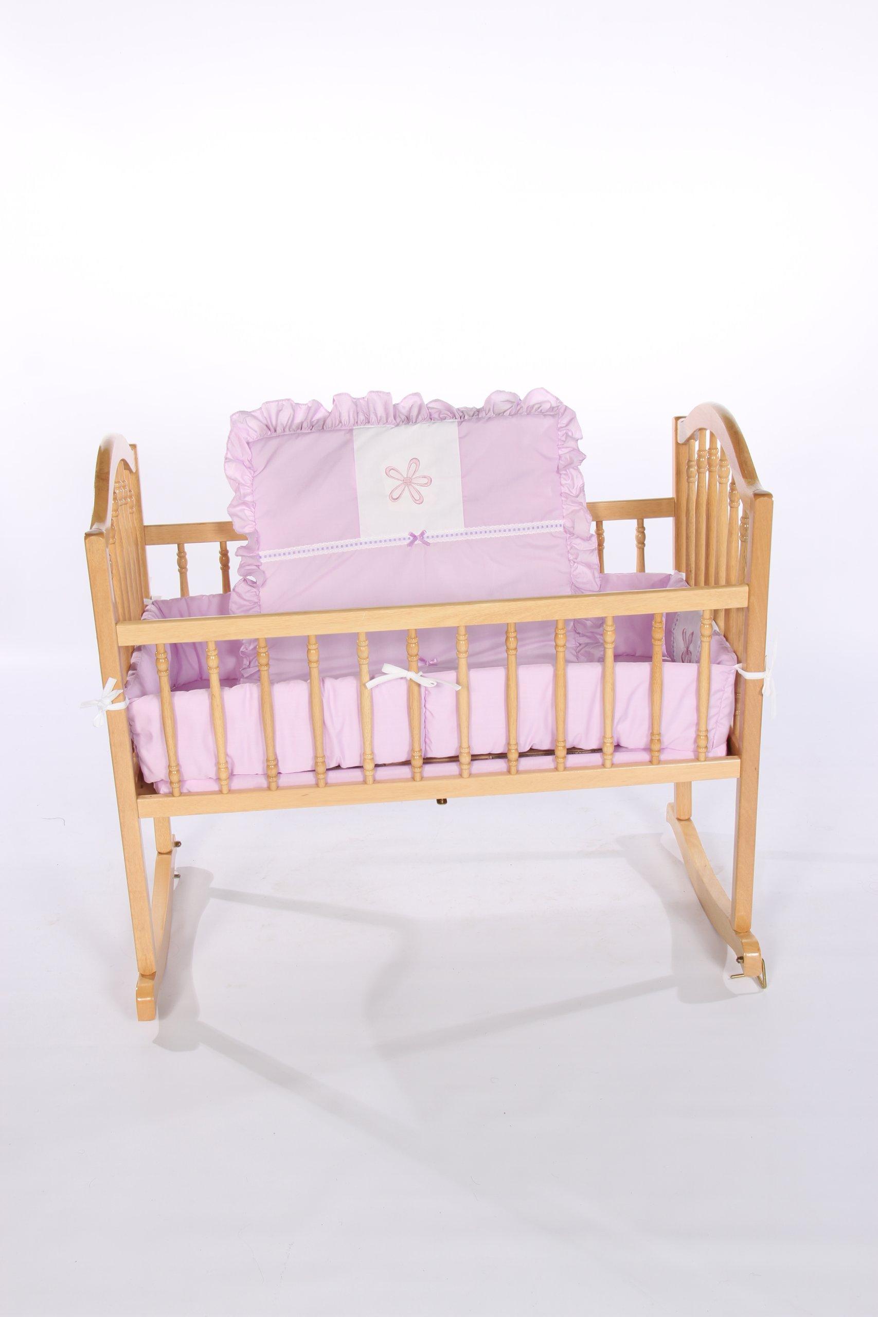 Baby Doll Bedding Solid with Flower Applique Cradle Bedding Set, Lavender
