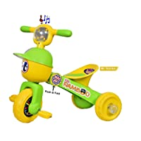 Bluday Mr. Rambo Baby Tricycle Ride-On Bicycle Green - Foldable Rider with Music & Lights ( Color May Vary )