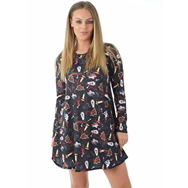 f534617e6a2 New Ladies Halloween Dress Womens Printed Long Sleeve Swing Dress Plus Size  8-22  Amazon.co.uk  Clothing