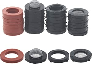 "Jwodo 3/4"" Garden Hose Washers with Filter Screen, 40Packs Hose Rubber Seals Gasket and Mesh Filter Set, 4 Kinds O-Rings for Standard 3/4"" Garden Hose Fittings and 5/8"" Washing Machine Connector"
