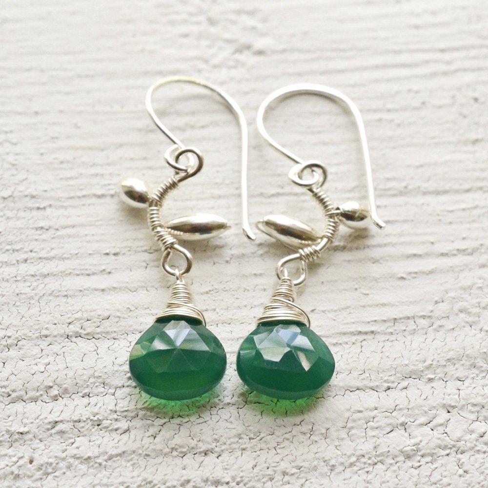 Green onyx earrings vine sterling silver