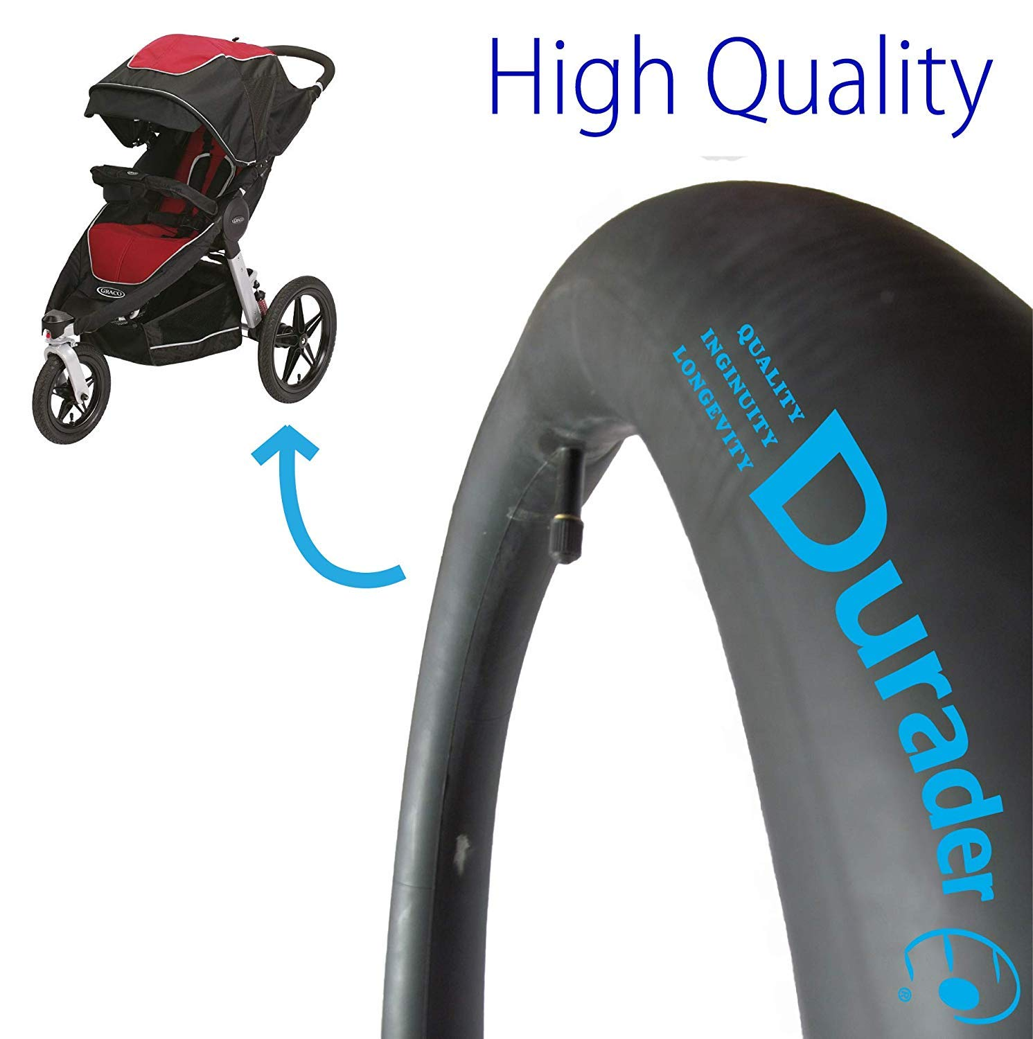 2X 16'' Straight Valve Inner Tubes Compatible with Graco Relay, Panther, Jaguar, Lynx, Cougar and FastAction Joggers Strollers