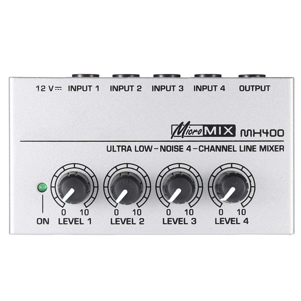 ammoon MX400 Ultra-compact Low Noise 4 Channels Line Mono Audio Mixer with Power Adapter 4334206073