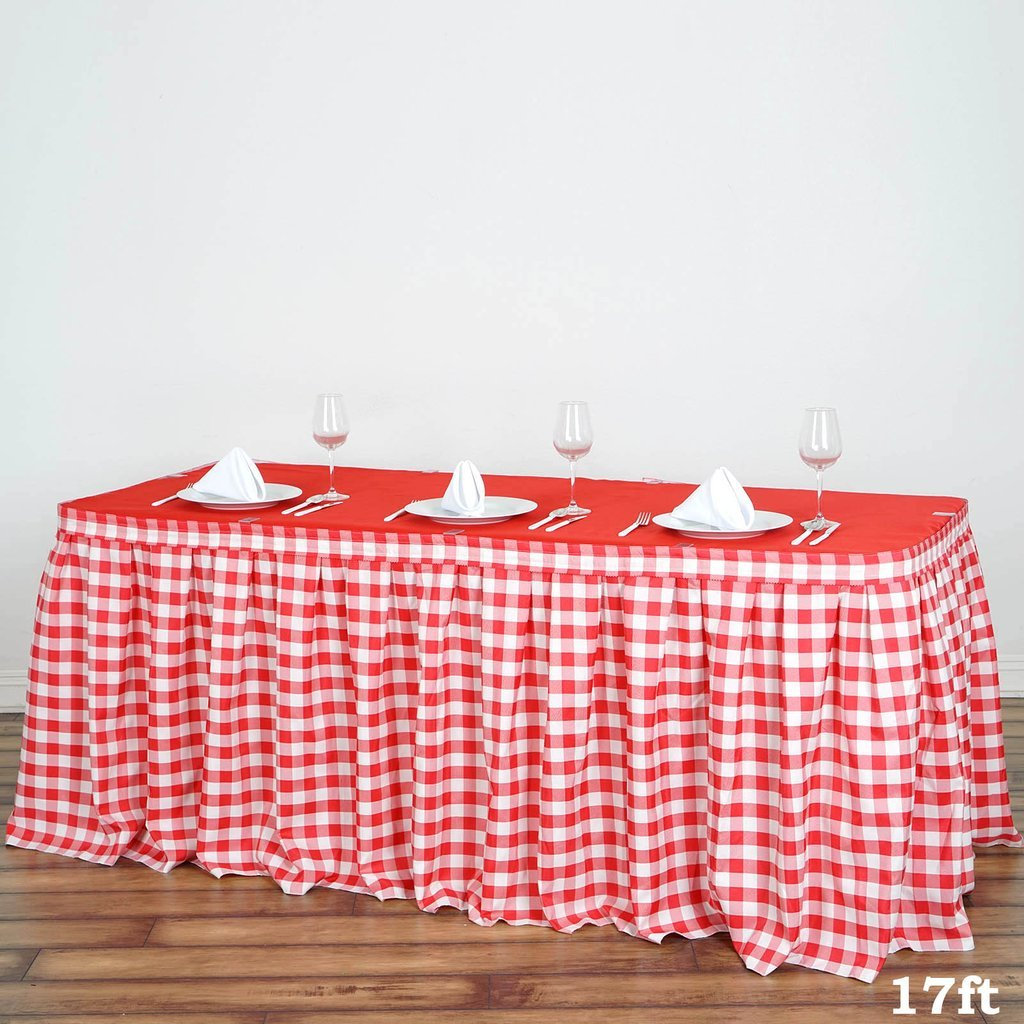 BalsaCircle 17 feet x 29-Inch Red on White Checkered Gingham Polyester Table Skirt Linens Wedding Party Events Decorations Dining by BalsaCircle