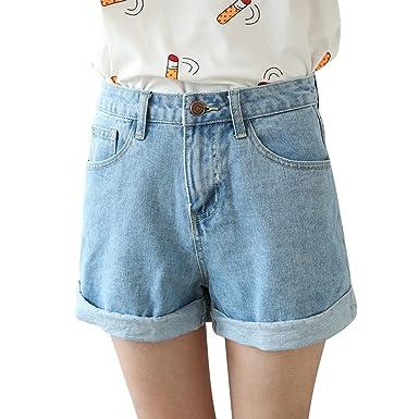 Largeshop Damen Jeans Shorts Sommer High Waist Vintage Hotpants Elegant  Baumwolle Stretch Freizeit Kurze Hose Mädchen  Amazon.de  Bekleidung ddd655dd2d