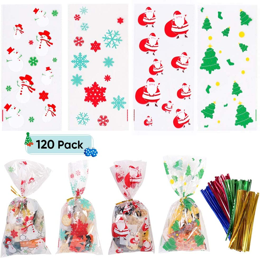 120 Pack Christmas Cellophane Bags Christmas Treat Bags with Twist Ties for Cookie Candy Christmas Party Supplies