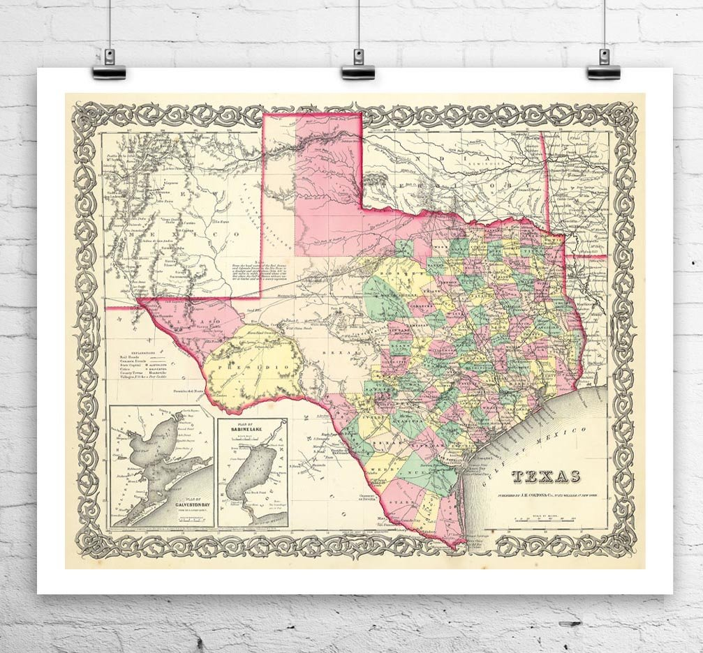 Old Map Of Texas.Amazon Com The Creative Forest Old Map Of Texas 1856 Antique Texas