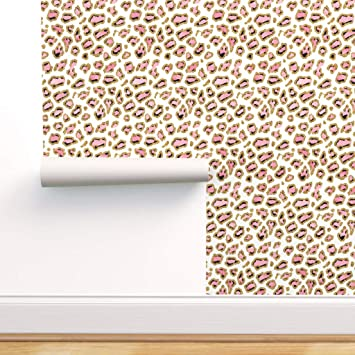 Spoonflower Peel And Stick Removable Wallpaper Pink And Gold Leopard Animal Girl Kids Nursery Print Self Adhesive Wallpaper 12in X 24in Test Swatch Amazon Com