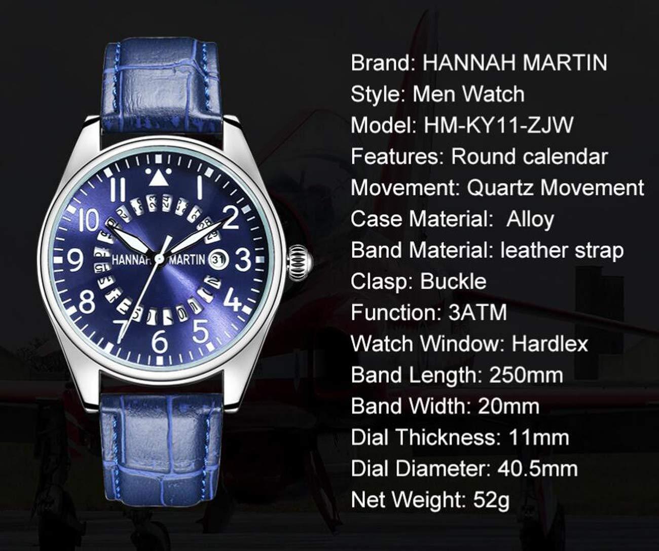 Hannah Martin Electronic Pilot Relojes de Pulsera con Calendario Impermeable y Correa de Cuero para Hombres,LYL: Amazon.es: Electrónica